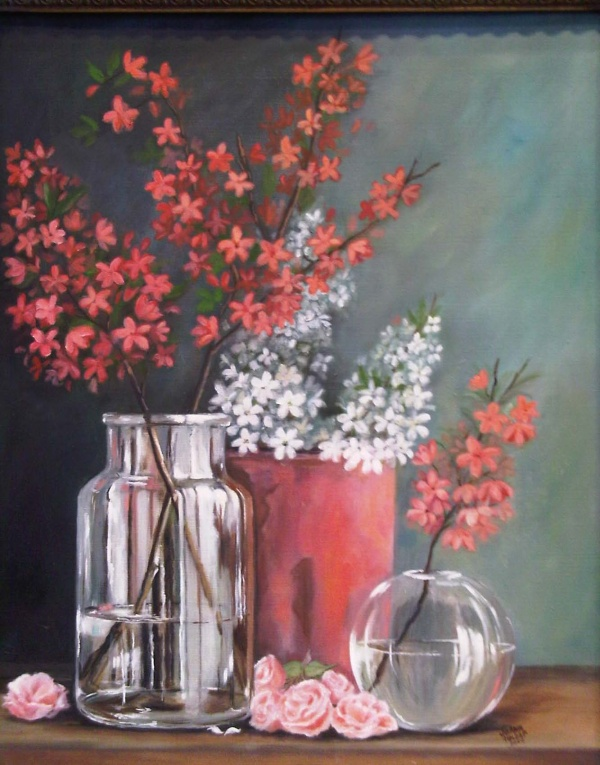 Flowers in Glass Vase SOLD