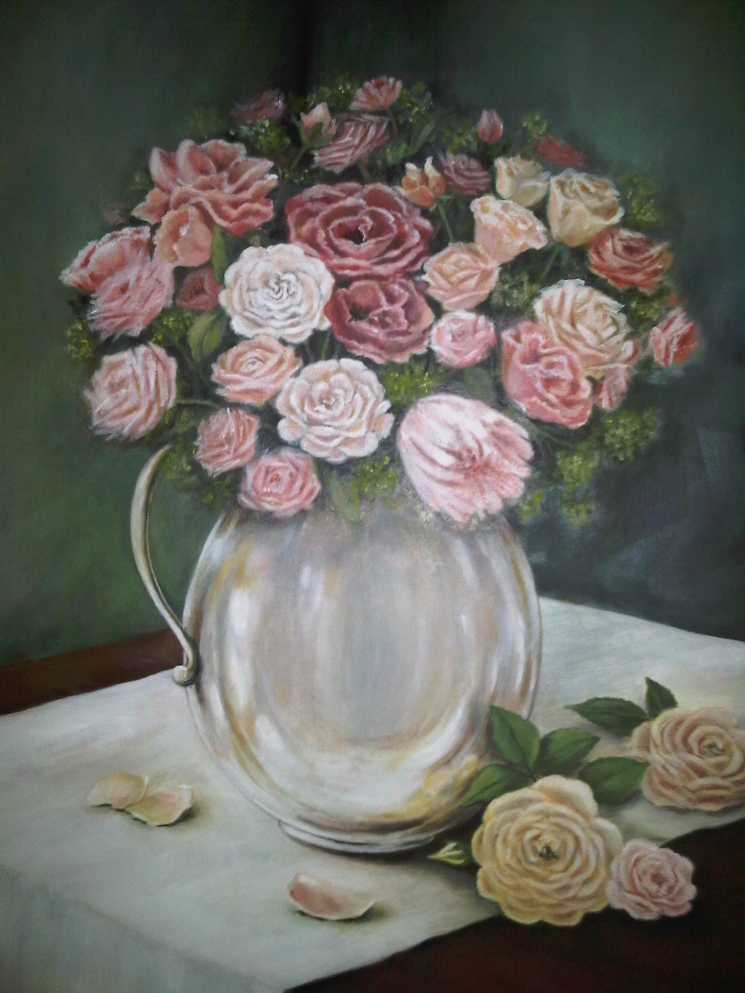 Flowers in Silver Vase SOLD